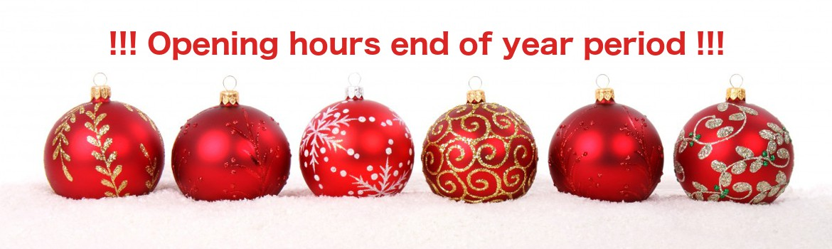 Opening hours end of year period